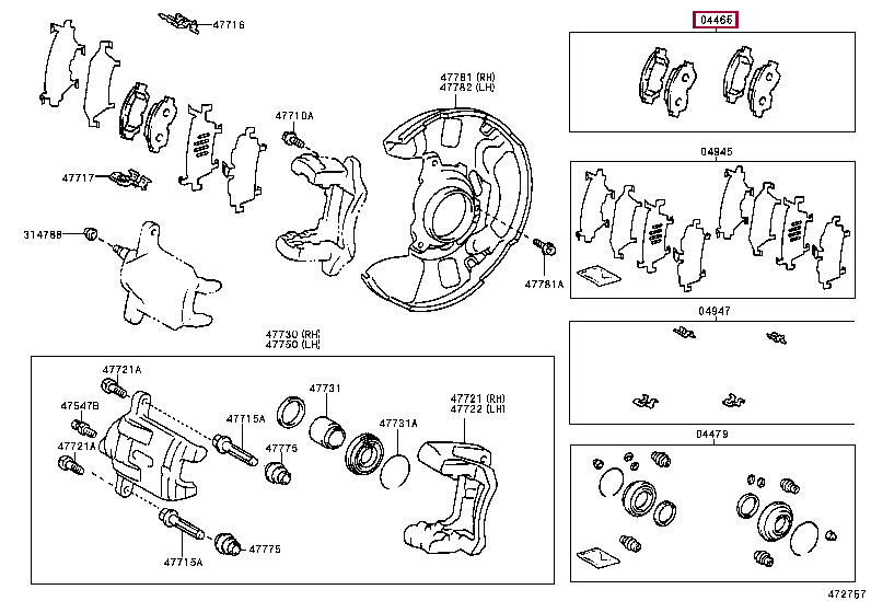 0446517140: PAD KIT, DISC BRAKE, FRONT Тойота