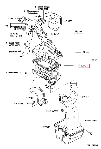 1780174020: ELEMENT SUB-ASSY, AIR CLEANER FILTER Тойота