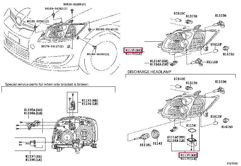 8113002A70: UNIT ASSY, HEADLAMP, RH Тойота