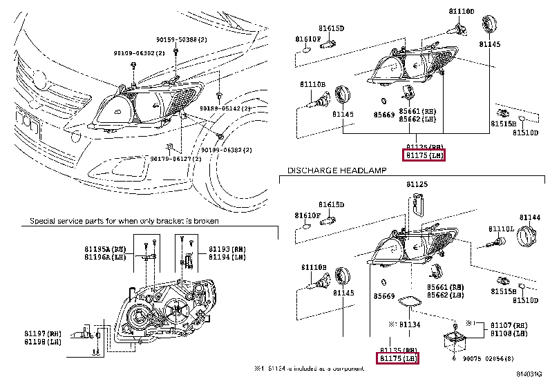 8118512E10: UNIT ASSY, HEADLAMP, LH Тойота