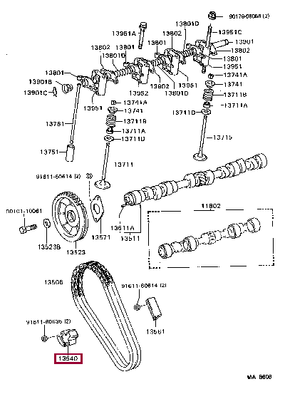 1354013023: TENSIONER ASSY, CHAIN, NO.1 Тойота