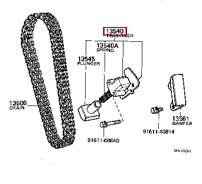 1354025010: TENSIONER ASSY, CHAIN, NO.1 Тойота