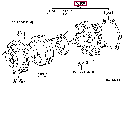 1610059137: PUMP ASSY, ENGINE WATER Тойота