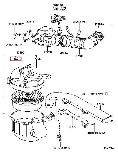 1780116010: ELEMENT SUB-ASSY, AIR CLEANER FILTER Тойота