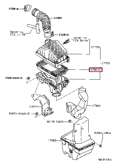 1780116020: ELEMENT SUB-ASSY, AIR CLEANER FILTER Тойота