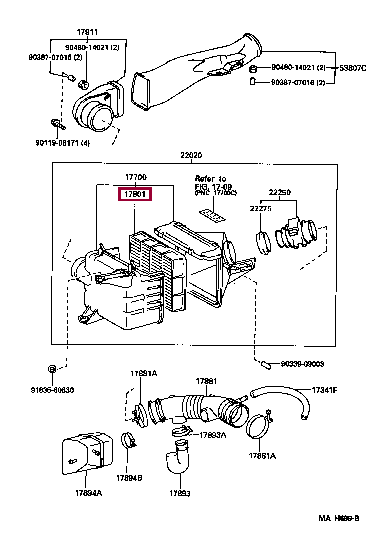 1780146060: ELEMENT SUB-ASSY, AIR CLEANER FILTER Тойота