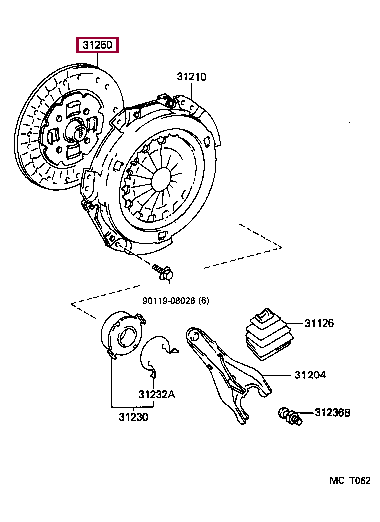 3125012390: DISC ASSY, CLUTCH Тойота