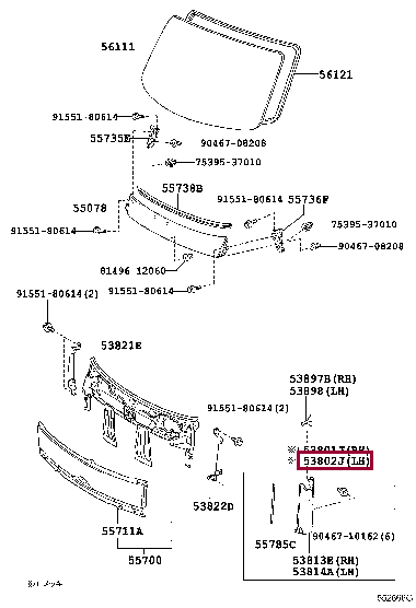 5380237100: PANEL SUB-ASSY, FRONT SIDE, LH Тойота