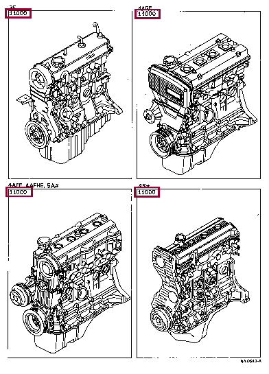 ENGINE ASSY, PARTIAL 90916-03046 (номер toyota 9091603046)